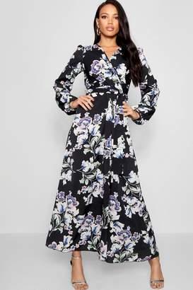 boohoo Woven Floral Blouson Sleeve Maxi Dress
