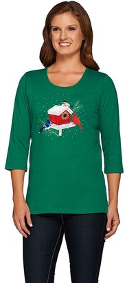 Factory Quacker All is Bright Holiday Bling 3/4 Sleeve T-shirt