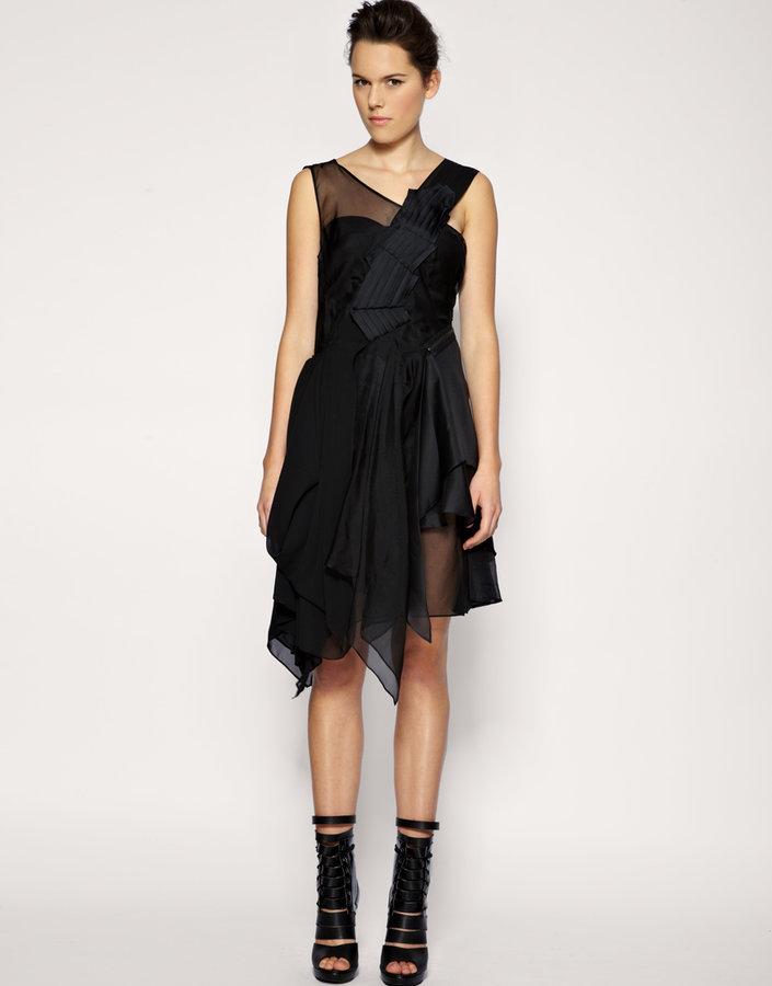 ASOS BLACK Silk Mix Asymmetric Pleat & Ruffle Dress