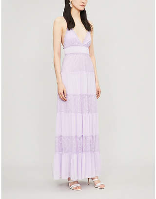 Alice + Olivia Alice & Olivia Amena lace-panelled woven maxi dress