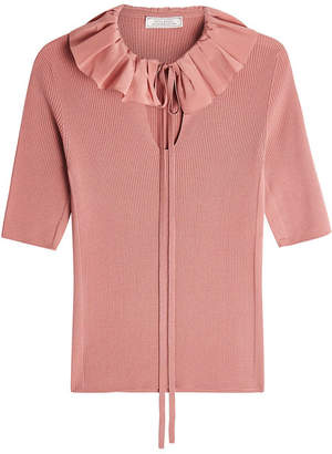 Nina Ricci Ruffled Collar Wool Top
