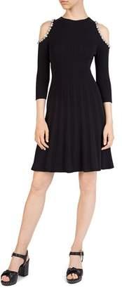 The Kooples Embellished Cold-Shoulder Knit Dress
