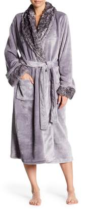 Shimera Faux Fur Trim Plush Robe