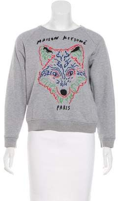 MAISON KITSUNÉ Embroidered Knit Sweater