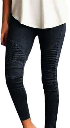 5bd4841c44e58 XQS Women's Basic Stretchy Solid Moto Skinny Pleated Leggings Pencil Pants L