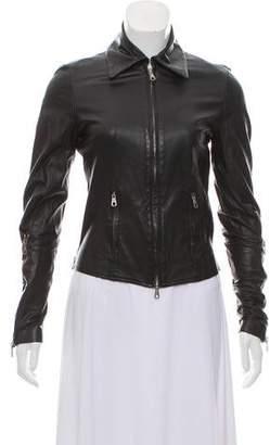 Plein Sud Jeans Leather Zip- Up Jacket