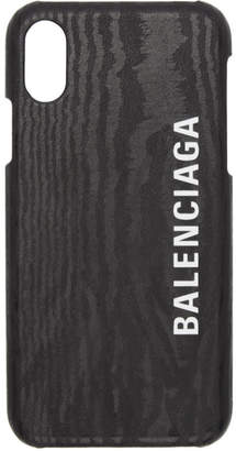 Balenciaga Black Leather Logo iPhone X/XS Case