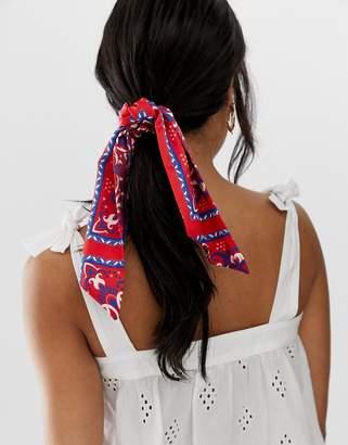 Asos Design DESIGN hair scarf in bandana print in burgundy