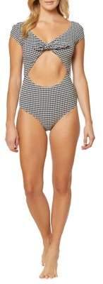 Jessica Simpson Retro One-Piece Tied Cutout Swimsuit