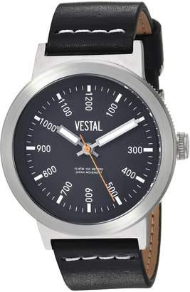 Vestal Men's 'Retrofocus' Quartz Stainless Steel and Leather Casual Watch, Color: (Model: SLR443L01.BKWH)