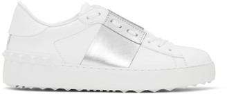 Valentino White and Silver Garavani Open Sneakers