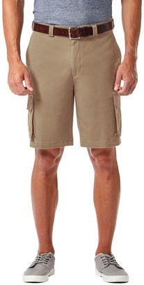 Haggar Men's Straight-Fit Stretch Cargo Flat-Front Shorts