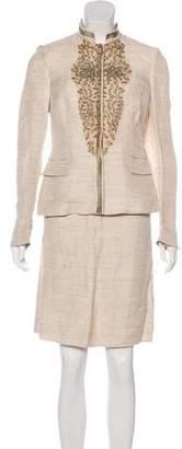 Alberta Ferretti Embellished Linen Skirt Suit