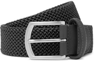 Andersons Anderson's 3.5cm Grey Leather-Trimmed Woven Elastic Belt
