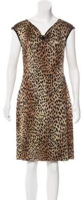 St. John Cheetah Patterned Knit Dress