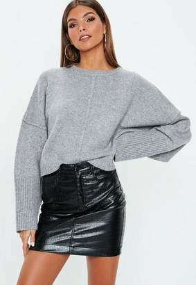 Missguided Grey Wide Sleeve Oversized Sweater