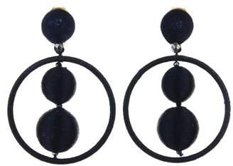 Oscar de la Renta Gold Threaded Bead Hoop Earrings