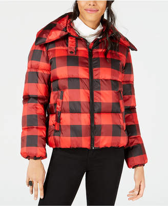 KENDALL + KYLIE Plaid Cropped Puffer Coat