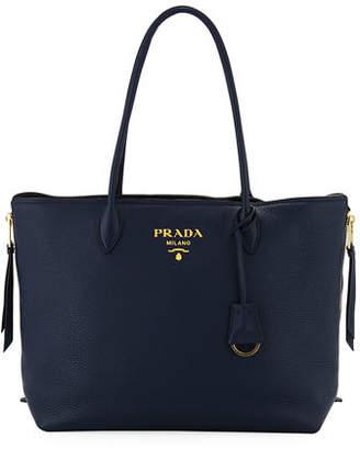 Prada Daino Double Handle Leather Tote Bag