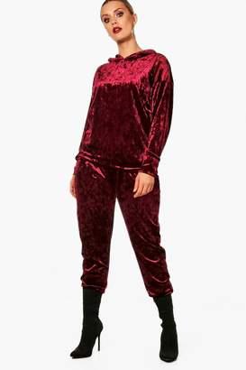 boohoo Plus Velvet Hooded Sweat suit Co-Ord