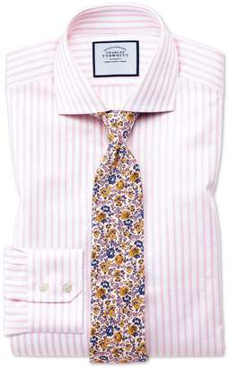 Slim Fit Cutaway Textured Stripe Pink and White Cotton Formal Shirt Single Cuff Size 16.5/33