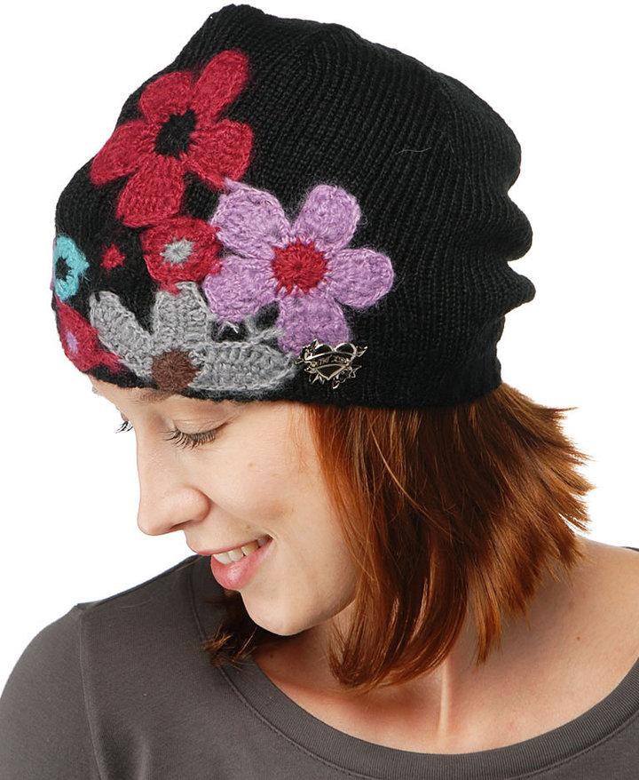 Floral Applique Skull Hat