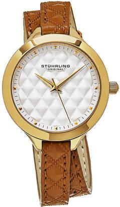 Stuhrling Original Mens Brown Strap Watch-Sp12924