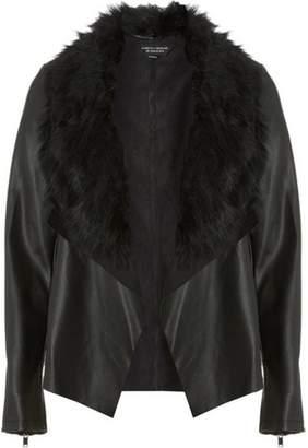 Dorothy Perkins Womens Black Faux Fur Waterfall Jacket