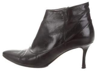 Manolo Blahnik Leather Round-Toe Booties