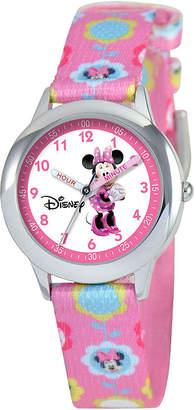 Disney Time Teacher Minnie Mouse Kids Pink Graphic Strap Watch
