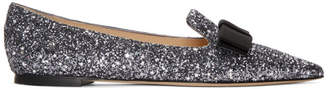 Jimmy Choo Gunmetal Glitter Gala Star Loafers
