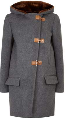 Sandro Faux Fur Hood Wool Coat