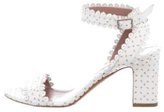 Tabitha Simmons Leather Ankle Strap Sandals White Leather Ankle Strap Sandals