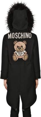 Moschino Hooded Felt Parka Coat