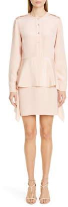 Stella McCartney Long Sleeve Peplum Silk Blend Dress