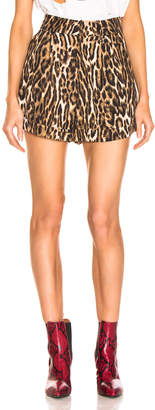 R 13 Pleated High Rise Short in Leopard | FWRD