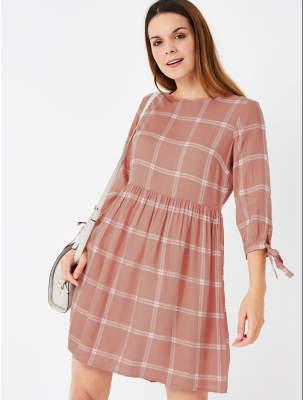 George Pink Check Print Smock Dress
