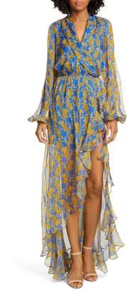 Caroline Constas Liv Floral Print Long Sleeve High/Low Gown
