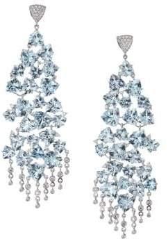 Hueb 18K White Gold, Aquamarine& Diamond Chandelier Earrings