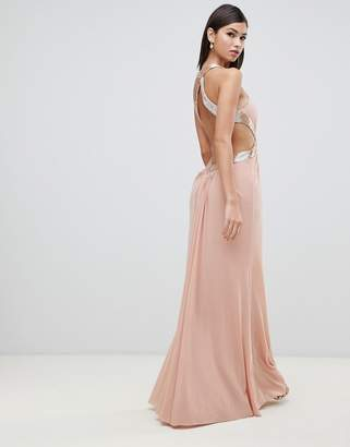 Forever Unique keyhole neck halter embellished maxi dress