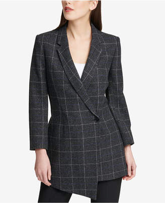 DKNY Asymmetrical-Hem Plaid Blazer