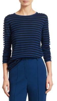 Akris Punto Tricolor Stripe Wool Top