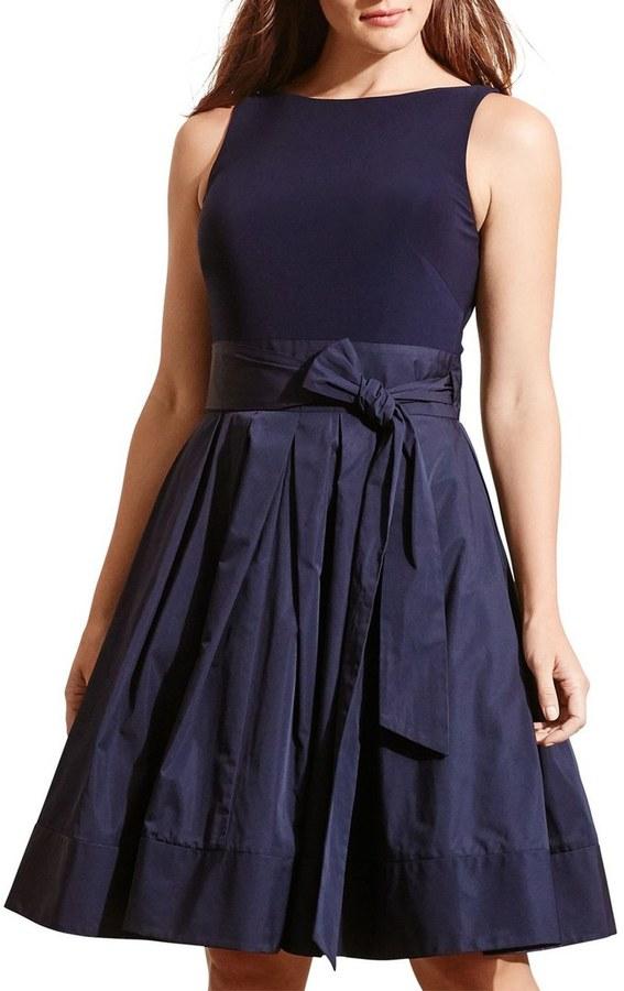 Lauren Ralph Lauren Jersey Taffeta Fit & Flare Dress