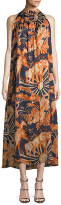 Chufy Sleeveless Halter Animal-Print Silk Long Dress