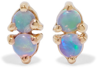 Wwake - Two Step 14-karat Gold Opal Earrings - one size $290 thestylecure.com
