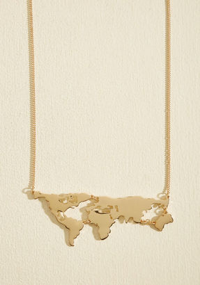 ModCloth There's a Map for That Necklace in Gold $19.99 thestylecure.com