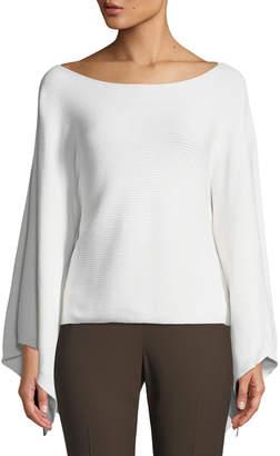 Lafayette 148 New York Cropped Draped-Sleeve Kimono Sweater