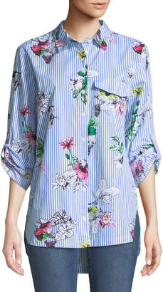 Velvet Heart Floral-Striped Button-Front Blouse