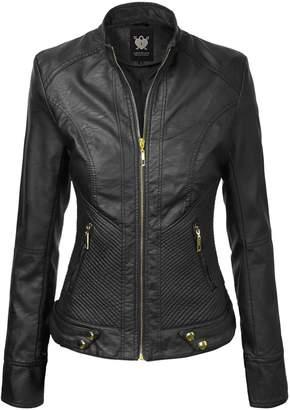Lock and Love WJC747 Womens Dressy Vegan Leather Biker Jacket XL Black