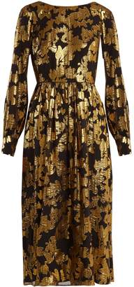 Saloni Camille floral-jacquard Lurex dress